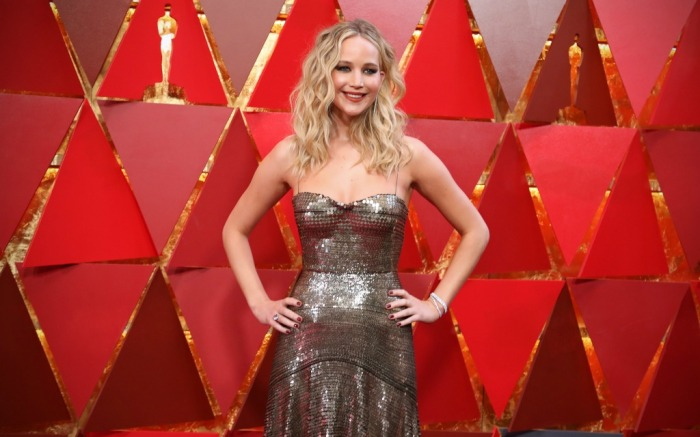 Jennifer Lawrence attends the 90th Annual Academy Awards.