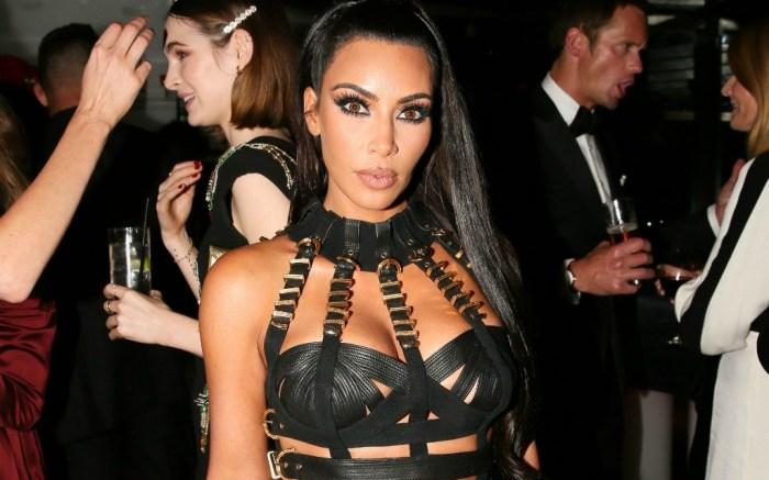 Kim Kardashian attends Met Gala Versace after party.
