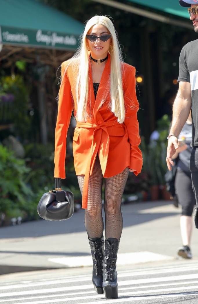 Lady Gaga wearing a House of Holland orange tailored suit jacket, lady gaga street style, lady gaga, street style, lady gaga platforms