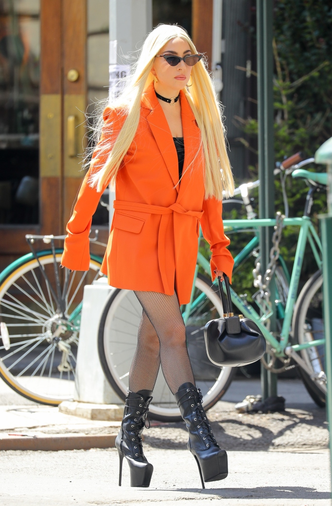 lady gaga, lady gaga street style, Lady Gaga wearing a House of Holland orange tailored suit jacket