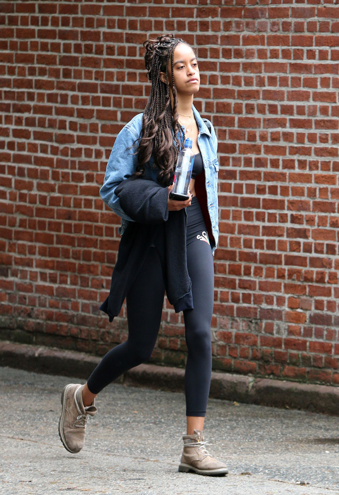 Malia Obama, cat boots, leggings, bra, workout