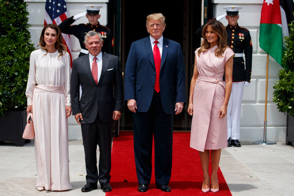 Donald Trump, King Abdullah II, Queen Rania, Melania Trump. President Donald Trump and first lady Melania Trump meet with King Abdullah II of Jordan and Queen Rania