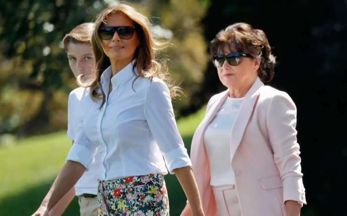 L-R: Barron Trump, Melania Trump and Amalija Knavs