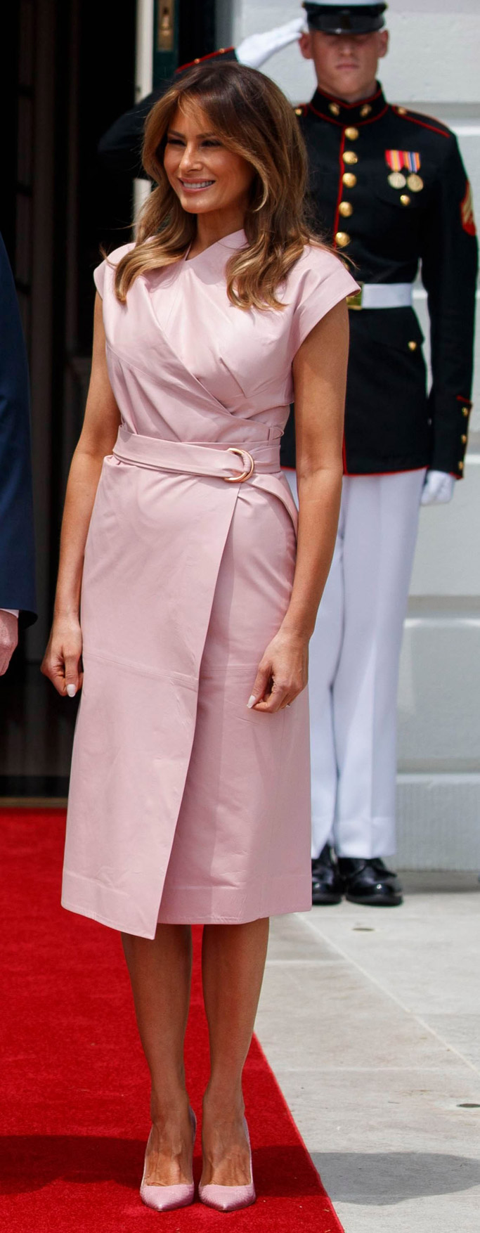 Melania Trump pink dress, pink shoes