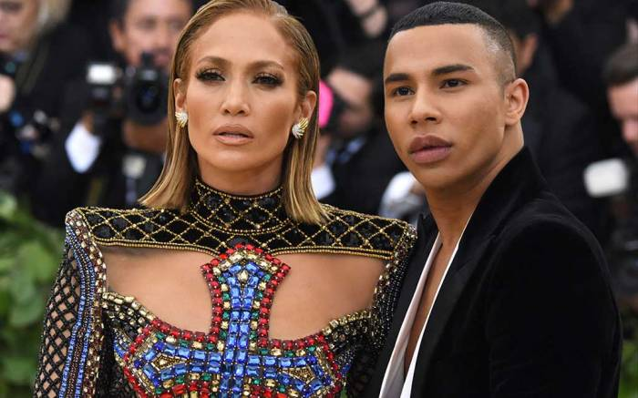Jennifer Lopez and Olivier Rousteing attend the 2018 Met Gala.