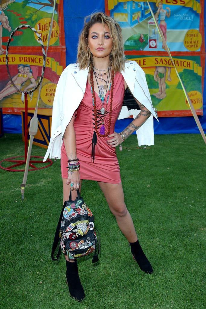 paris jackson, moschino, minidress, leather jacket