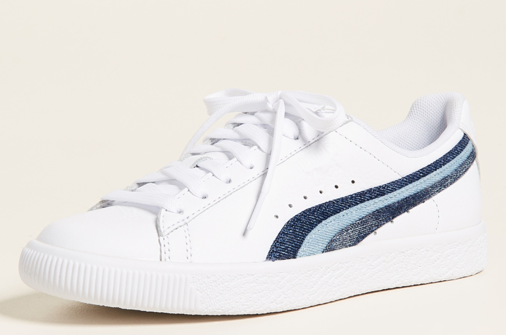 PUMA Clyde Denim Leather Sneakers
