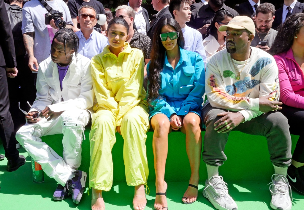 Travis Scott, Kylie Jenner, Kim Kardashian and Kanye West, louis vuitton front row