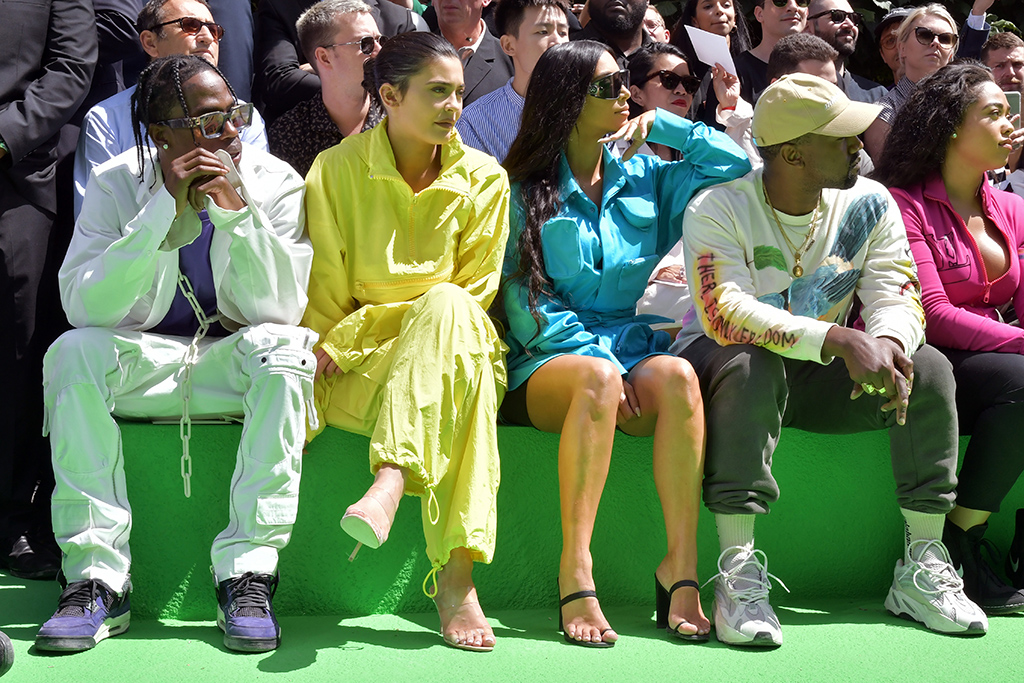 Travis Scott, Kylie Jenner, Kim Kardashian West and Kanye West in the front rowLouis Vuitton show, Front Row, Spring Summer 2019, Paris Fashion Week Men's, France - 21 Jun 2018