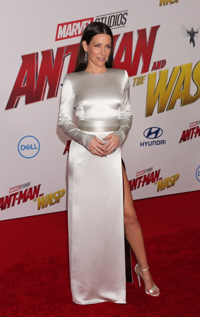 Evangeline Lilly attends the 'Ant-Man and The Wasp' premiere in Hollywood wearing an all-metallic look.