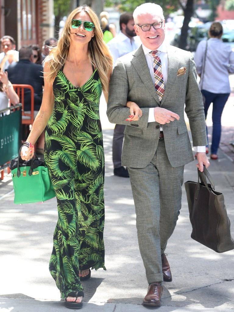 Heidi Klum and Tim Gunn meet up for lunch date at Bar Pitti in New York.