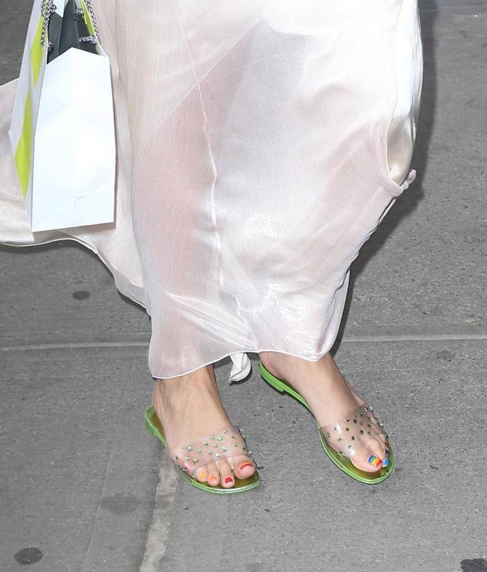 Giuseppe Zanotti cassidy sandals, rainbow pedicure, feet
