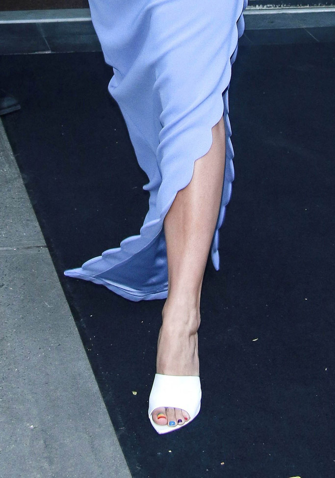 rita ora feet, gay pride pedicure, gianvito rossi mules