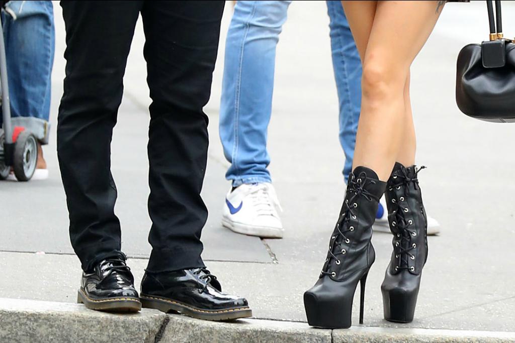 Lady Gaga's custom Giuseppe Zanotti black booties.