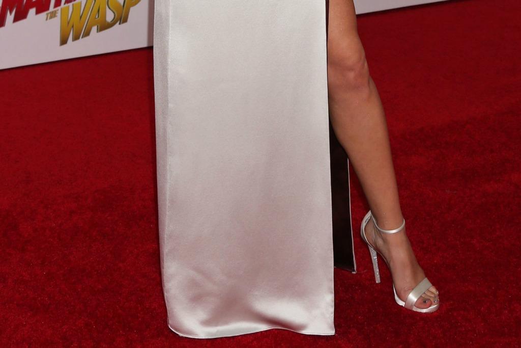 Evangeline Lilly's shiny glitter metallic sandals.