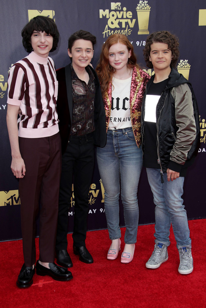 Finn Wolfhard, Noah Schnapp, Sadie Sink and Gaten Matarazzo at the MTV Movie Awards.