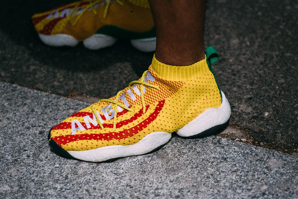 Adidas x Pharrell BYW Ambition sneakers, street style, pitti uomo
