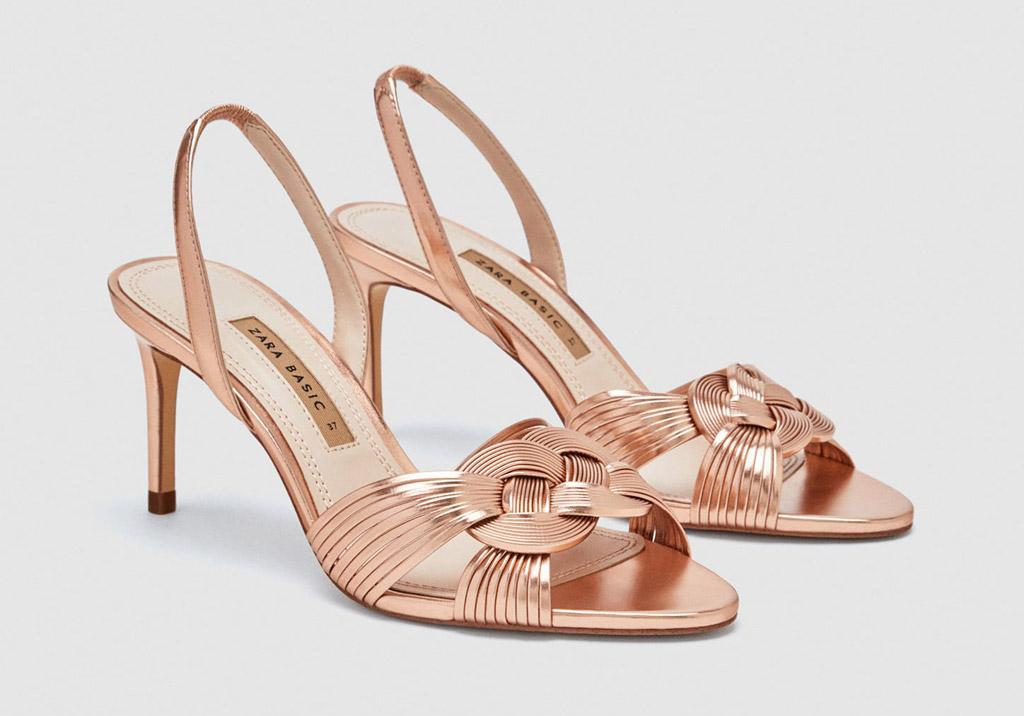 zara sandals, pink, rose gold