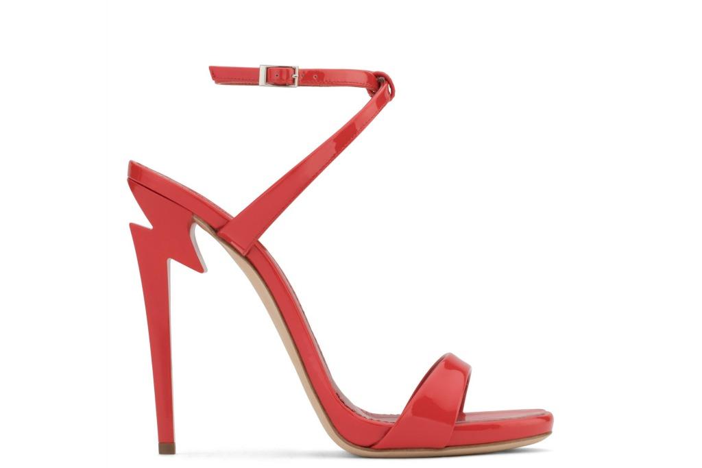 giuseppe zanotti g heels in red, ankle strap