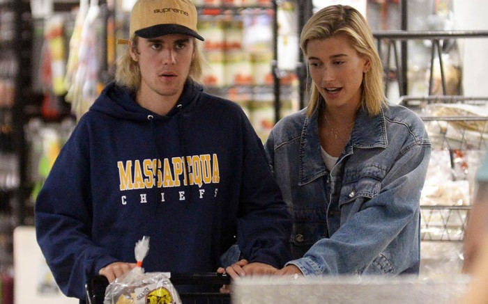 Justin Bieber and his fiance Hailey Baldwin spotted doing their grocery shopping at Wholefoods today in New York City
