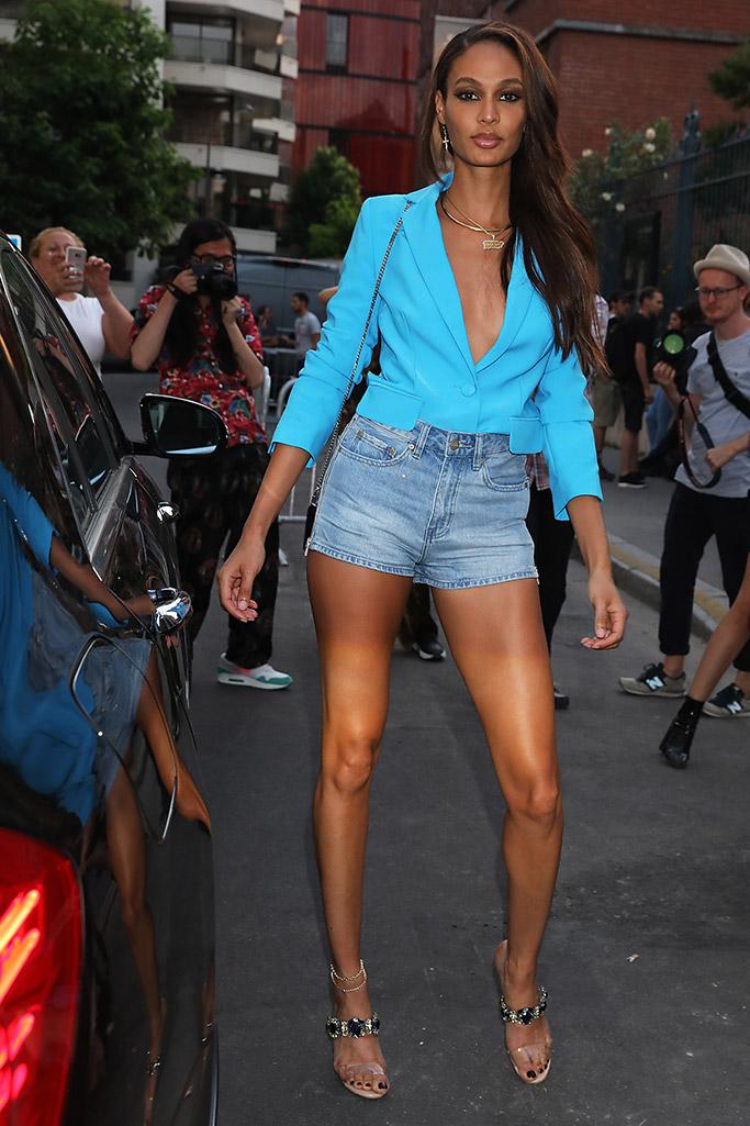 joan smalls, shorts, heels