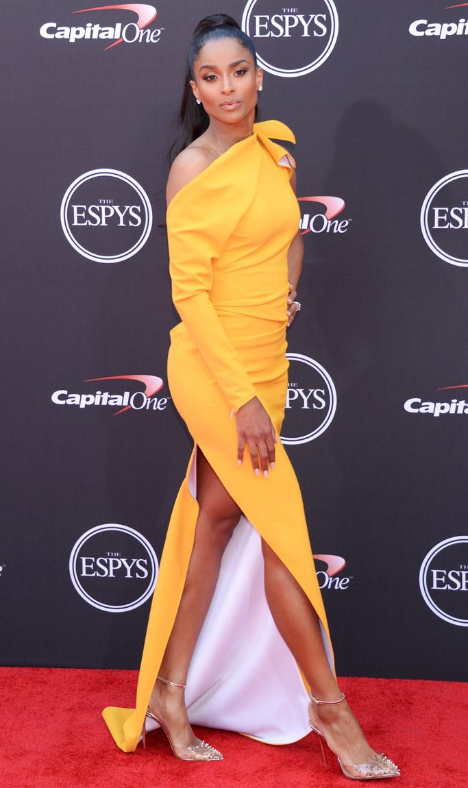 ciara espys awards red carpet 2018, yellow dress, legs