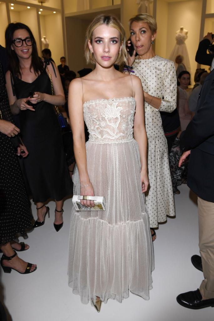 emma roberts, paris haute couture fashion week, dior front row