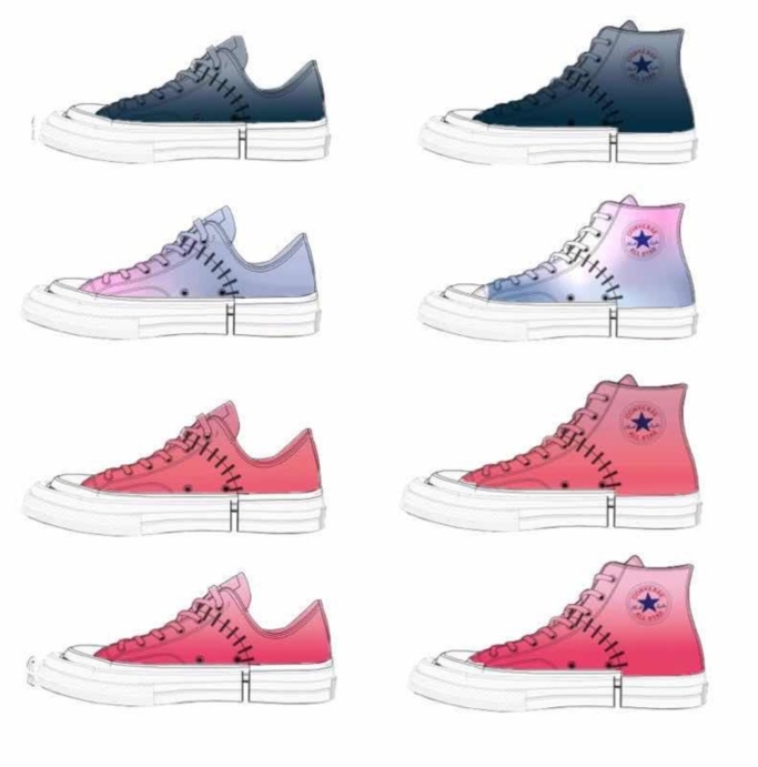 Sketches of Feng Chen Wang's custom Converse footwear, spring 2019