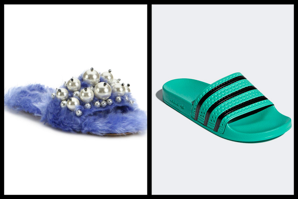 adidas Adilette green slides with black stripes, miu miu furry slides pearly embellishments purple cielo
