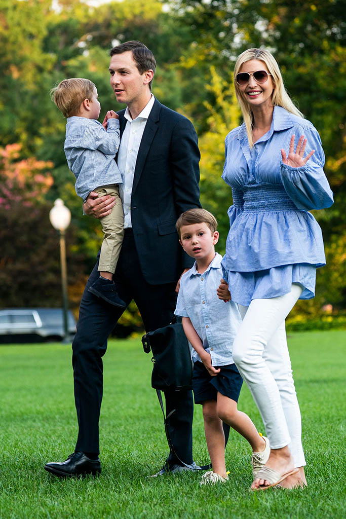 Jared Kushner (C-L) and Ivanka Trump (R) walk with their children Theodore (L) and Joseph (C-R) across the South Lawn as they return from a weekend stay in Bedminster, New Jersey at the White House in Washington, DC, USA, 29 July 2018. Earlier in the day, the US President Donald J. Trump once again went after the media on Twitter, calling them the 'enemy of the people.'Kushners returns to the White House from Bedminster after weekend stay, Washington, USA - 29 Jul 2018