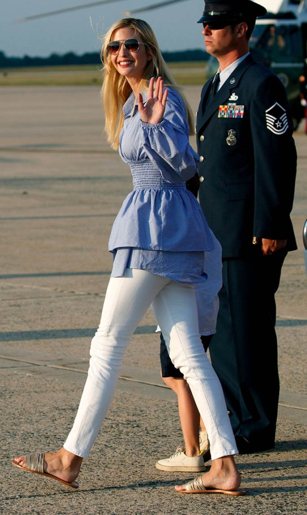 Ivanka Trump, Donald Trump, Melania Trump, and Barron Trump. Ivanka Trump, the daughter of President Donald Trump, waves as she arrives on Air Force One, at Andrews Air Force Base, Md., en route to Washington as she returned from Trump National Golf Club in Bedminster, N.JTrump, Andrews Air Force Base, USA - 29 Jul 2018