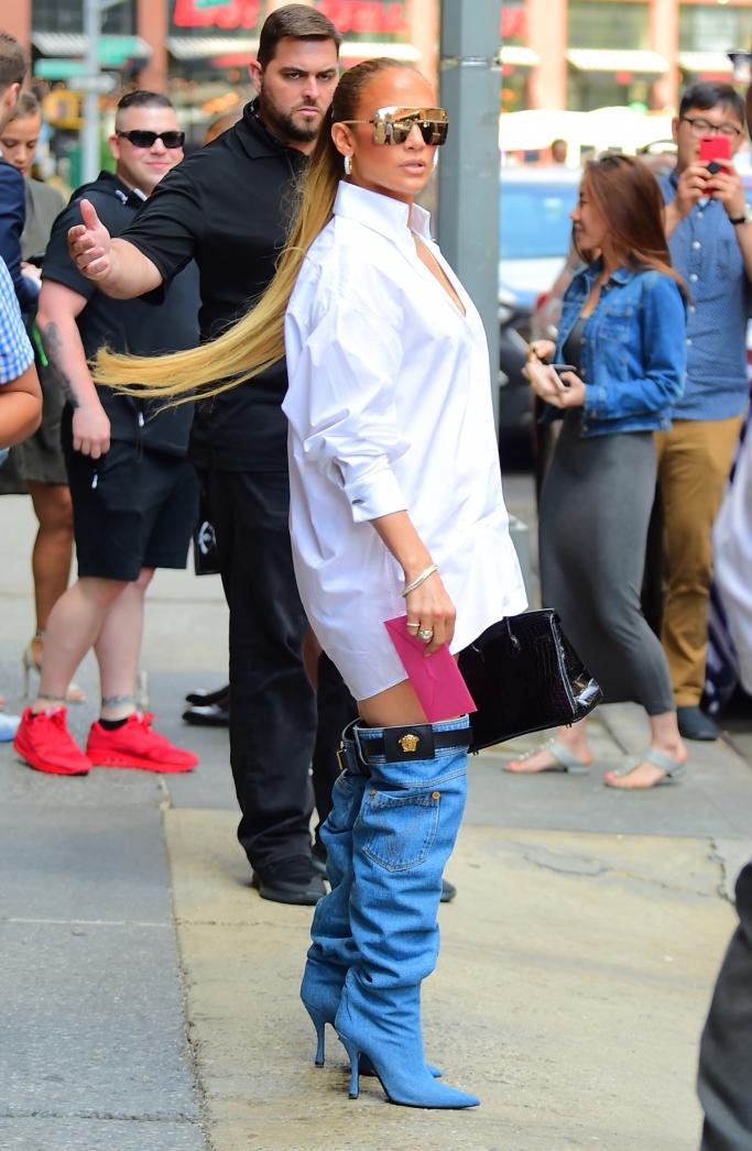 jennifer lopez, jlo street style, versace denim boots, shirt dress