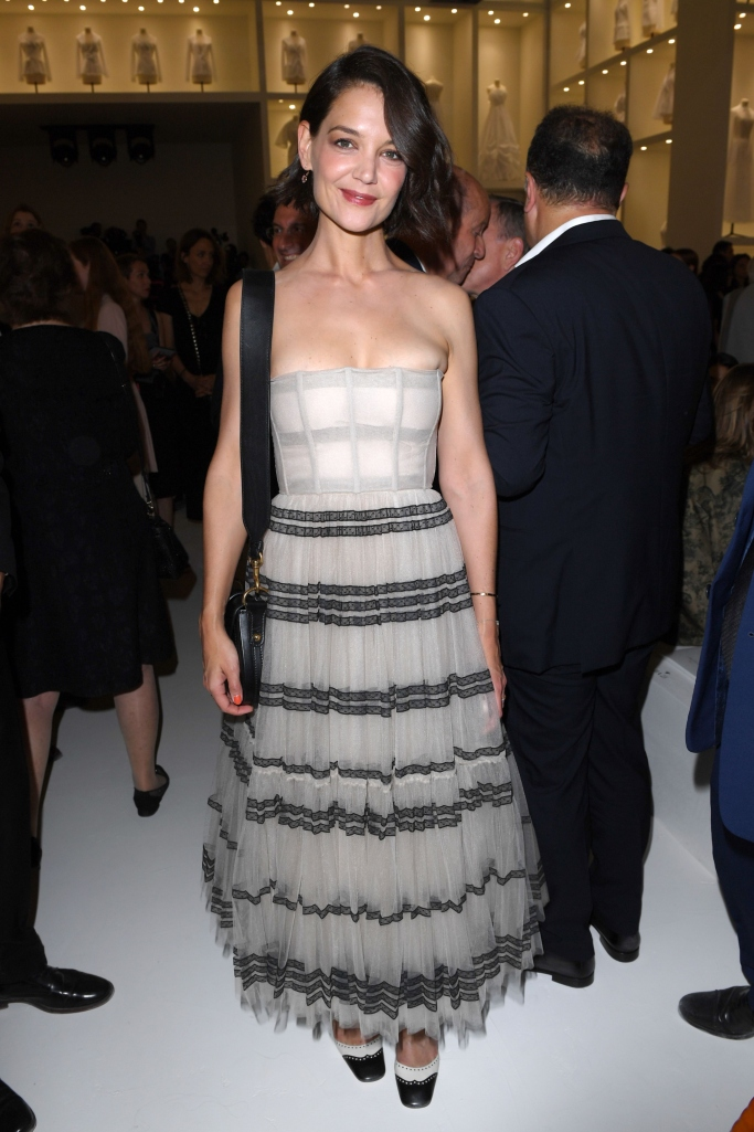 katie holmes dior front row, haute couture fashion week