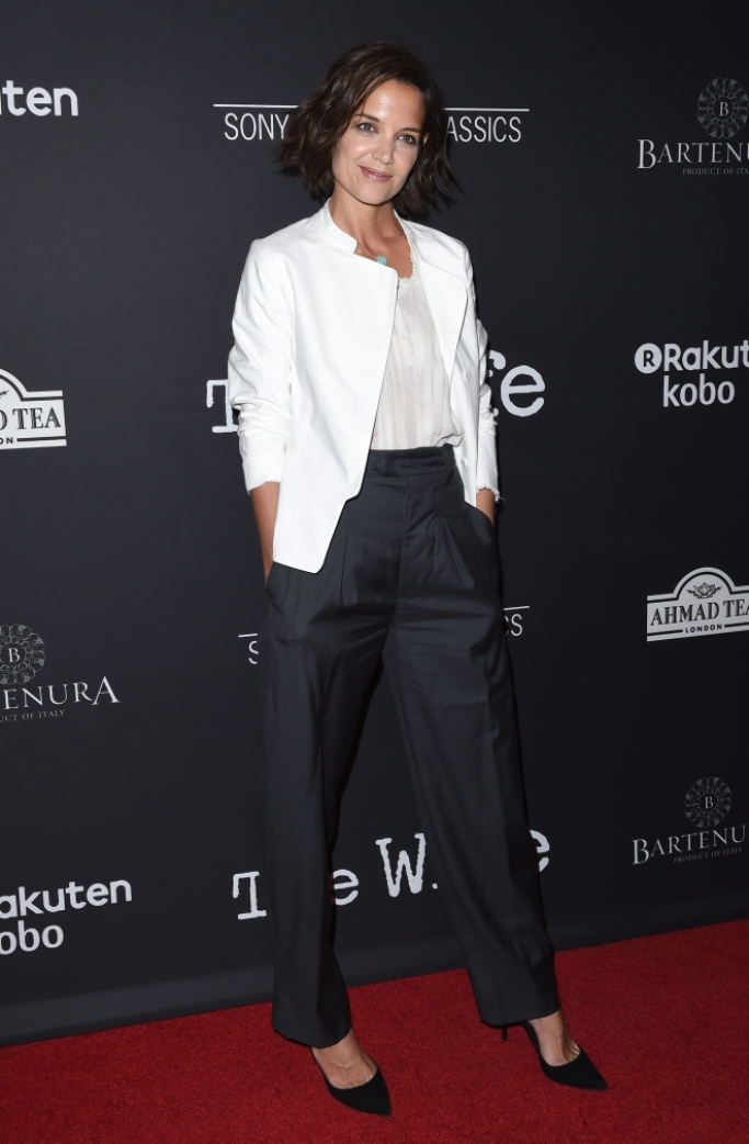 katie holmes red carpet style, the wife premiere
