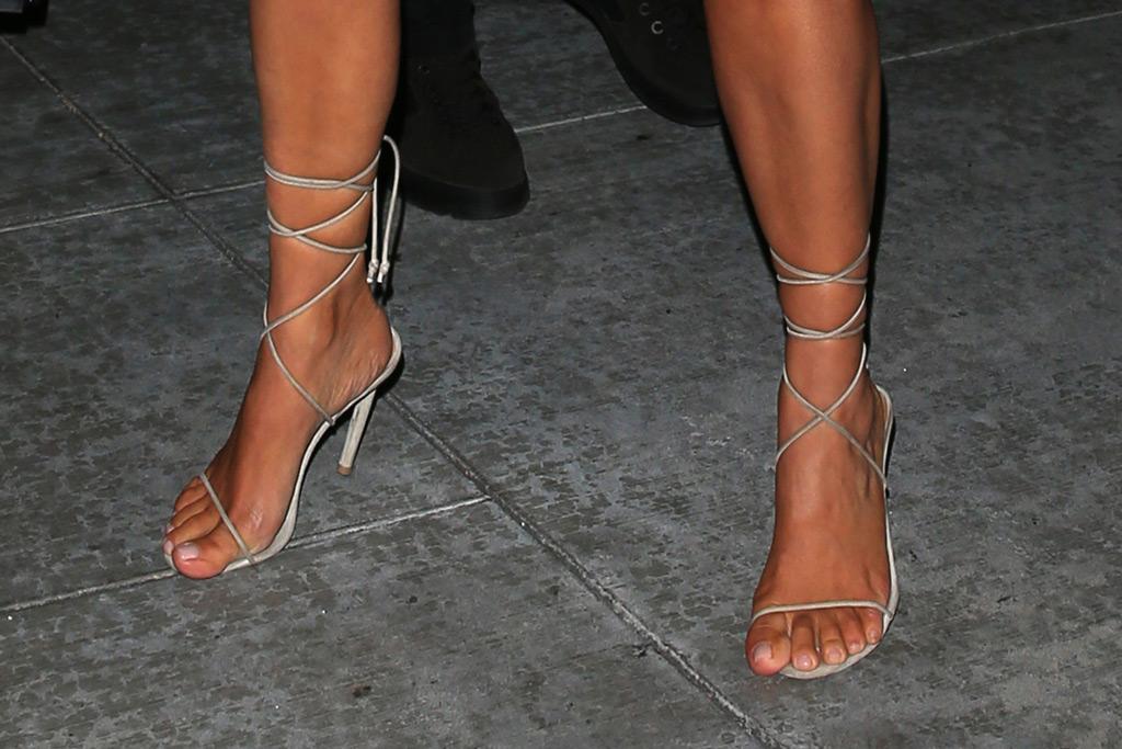 kim kardashian, strappy nude sandals