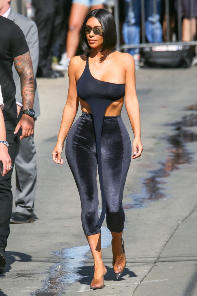 kim kardashian, Lisa Marie Fernandez Karlie Velour Leggings, yeezy season 6 pvc mules