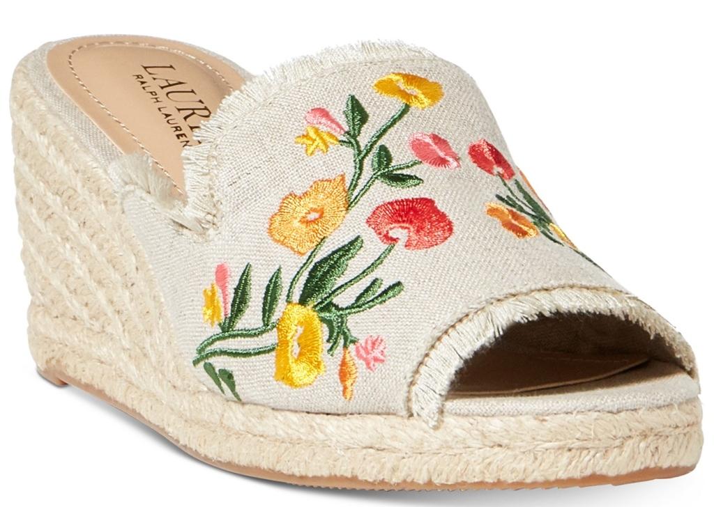 Lauren Ralph Lauren Carlynda Embroidery Espadrille Wedge Sandals