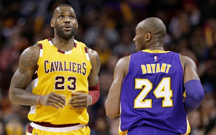 LeBron James (L) and Kobe Bryant.