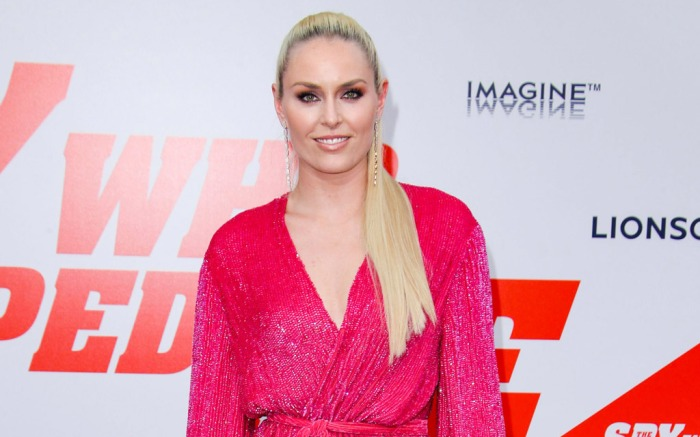 Retrofete dress, lindsey vonn, Giuseppe Zanotti bridget mules, spy who dumped me premiere