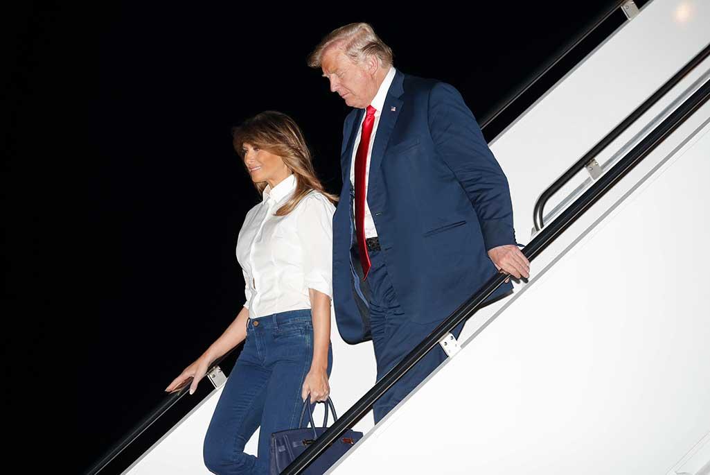 Donald Trump and wife Melania return to the White House.