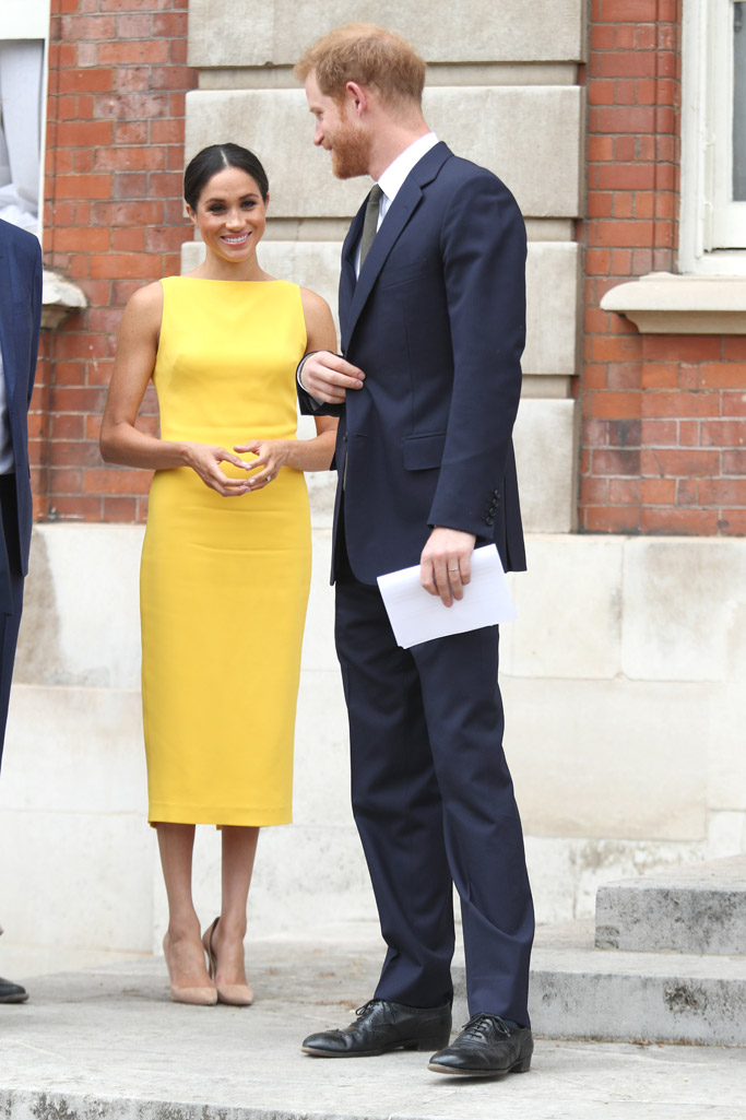 Meghan Markle yellow dress, Prince Harry, your commowealth youth reception marlborough house