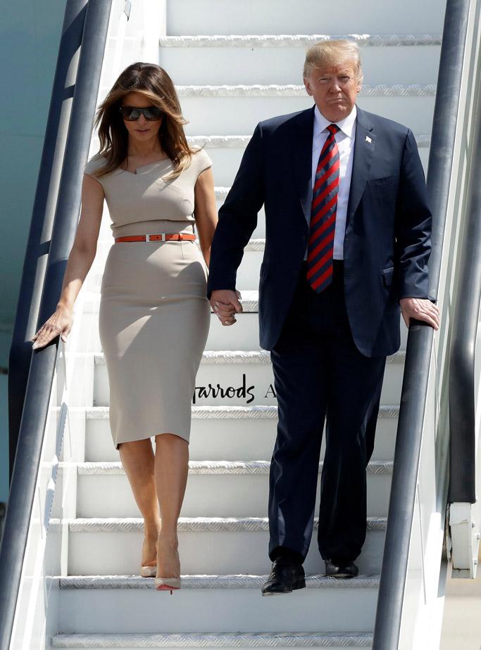 Melania Trump wears Christian Louboutin So Kate pumps, dress, england
