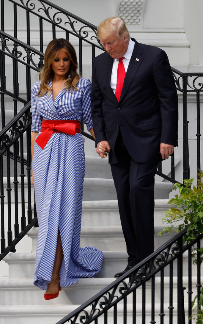 melania trump july 4th dress, ralph lauren, christian louboutin flats, alexander mcqueen belt