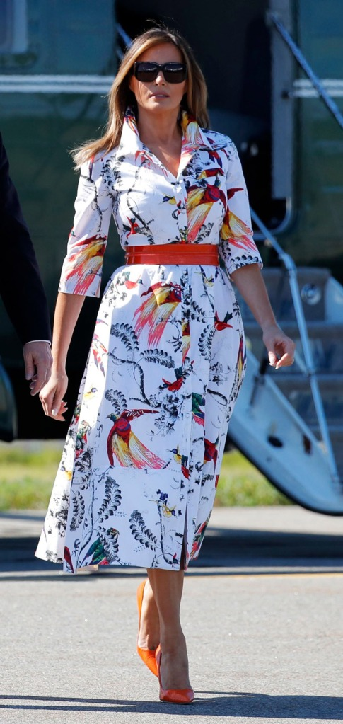 Melania Trump, orange manolo blahnik bb pumps