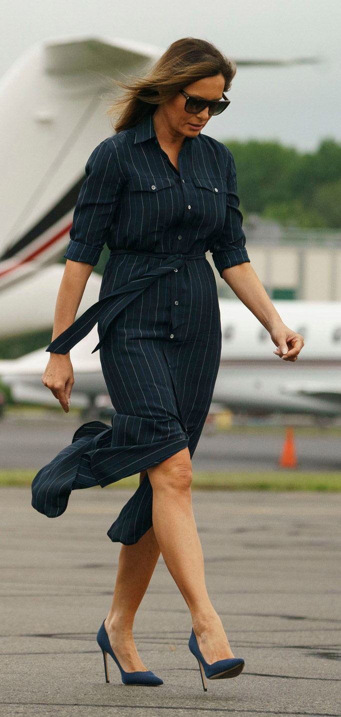 melania trump ralph lauren pinstripe dress, manolo blahnik bb pumps