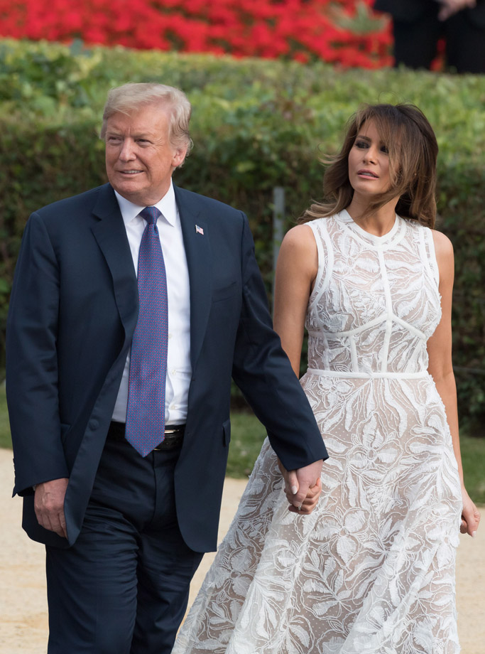 Melania Trump S See Through Dress At Nato Summit Defies Tradition Footwear News