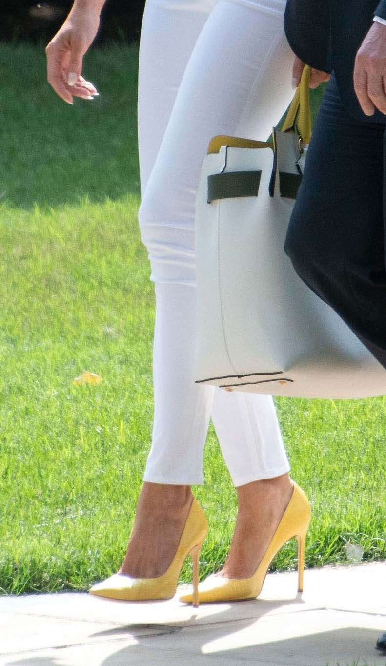 manolo blahnik bb pumps, United States President Donald J. Trump and first lady Melania Trump depart the South Lawn of the White House in Washington, DC en route to Bedminster, New Jersey.Donald Trump departs the White House, Washington, DC - 27 Jul 2018