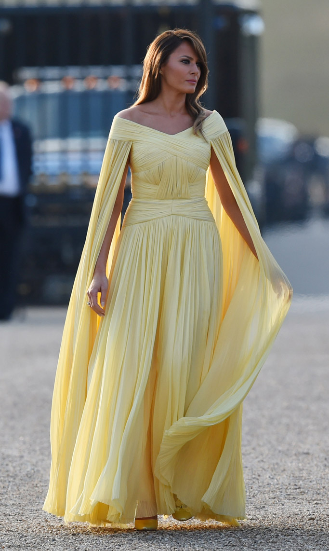 Melania Trump wears a J Mendel dress