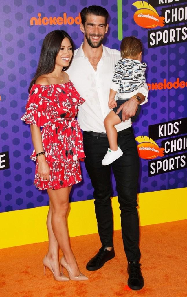 Michael Phelps, Nicole Johnson, Boomer Robert Phelps, kids' choice sports awards red carpet