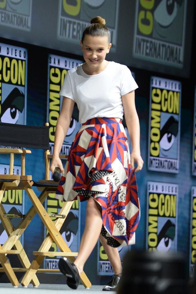 Millie Bobby Brown, Comic-Con, San Diego, California, film panel, Godzilla, calvin klein